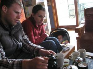 having tea with Noah and his folks before heading out